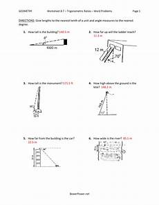 word problems trigonometry worksheets 11147 worksheet 8 7 trigonometric ratios word