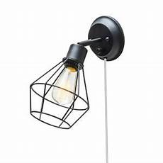 globe electric 1 light black shade plug in wall sconce with clear 6 ft cord 65291 the home depot