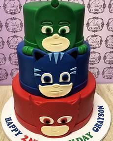 pj masks themed birthday 3 tier cake plus smash