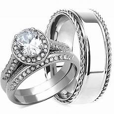 3pcs his hers wedding ring matching band mens and womens stainless steel new ebay