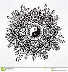 Malvorlagen Yin Yang Ornate Flower With Yin And Yang Symbol Stock Vector