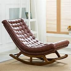 chaise rocking chair modern design rocking lounge chair leather and wood for