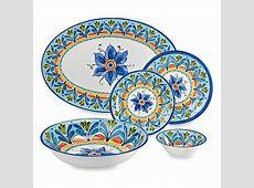Azul Hand Painted Round Melamine Dinnerware Collection
