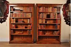 pair walnut victorian bookcases open book case