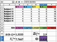 cronbachs alpha berechnen excel calculation of cronbach s alpha in cell e13 with the