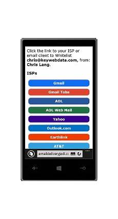 whitelist key generator screenshot of email delivery whitelist instructions for mobile devices email client social