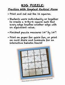 simplest radical form quot bundle quot simplify square roots activities by mathycathy