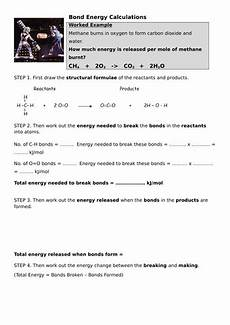bond energy calculations by styrie101 teaching resources