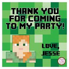 minecraft thank you card template printable 4 quot tags labels minecraft alex thank you