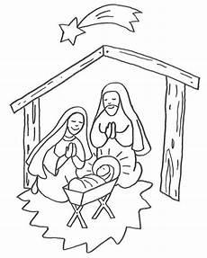 Christkind Ausmalbilder Zum Ausdrucken Die Sch 246 Ne Krippenszene Mit Josef Und Dem Jesuskind