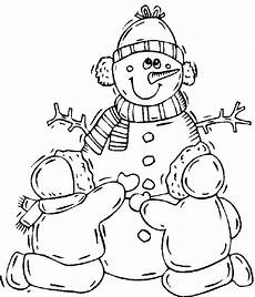 Ausmalbilder Winter Schneemann Snowman Coloring Book Page Snowman With Children Coloring