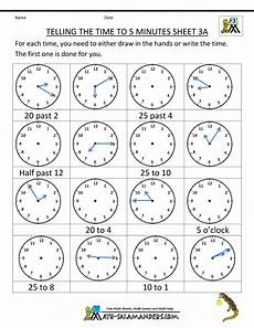 time worksheets 15580 telling time clock worksheets to 5 minutes