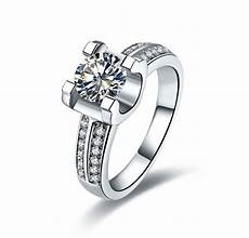 2 carat real nscd lovely diamond engagement wedding ring with box write your letters for free