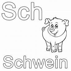 kostenlose malvorlage buchstaben lernen sch wie schwein