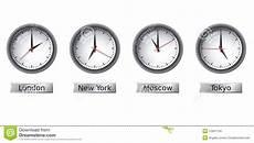 Time Zone Clocks Stock Vector Illustration Of Four
