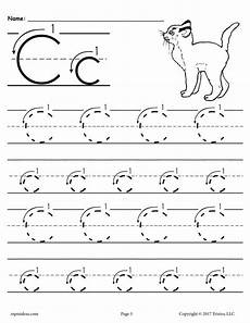 free printable letter c tracing worksheet with number and arrow guides alphabet tracing