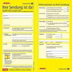 deutsche post benachrichtigungskarte neue