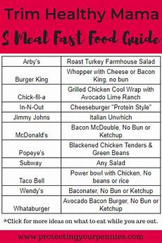 Trim Healthy Mama Food Chart Trim Healthy Mama Fast Food Guide For S Meals Protecting