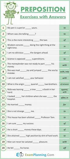 mixed preposition exercises with answers exlanning