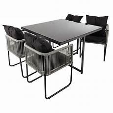 table et chaise de jardin solde table de jardin 4 chaises de jardin en r 233 sine et tissu noir l 107 cm swann maisons du monde