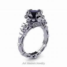 art masters caravaggio 14k white gold 1 5 ct princess black and white diamond engagement ring