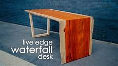 do it yourself wohnen diy live edge waterfall table desk do it yourself live