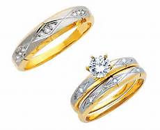 14k two tone gold cut simulated diamond trio wedding