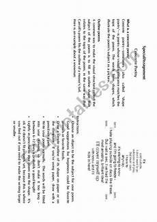 concrete poetry worksheets printable 25341 concrete poems secial project esl worksheet by dedee4u