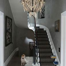 Grey Eclectic Hallway With Chandelier Decorating