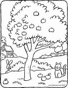 Malvorlagen Jahreszeiten Text Apfelbaum Kiddimalseite
