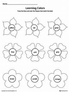 learn colors worksheets free 12775 learning colors and tracing flowers worksheet myteachingstation