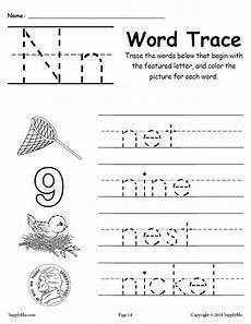 worksheets on letter n 24156 letter n words alphabet tracing worksheet supplyme
