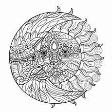 Malvorlagen Sonne Und Mond Malvorlagen Sonne Und Mond F 252 R Erwachsene Premium Vektor