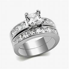 3 75 cttw princess cut aaa cz stainless steel wedding ring s size 5 10 ebay