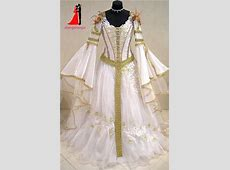 Dubai Muslim White Gold Medieval Wedding Dresses 2017 Long
