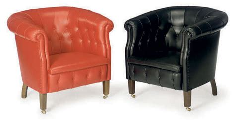 Three Italian Button-tufted Leather 'fumoir' Tub Chairs