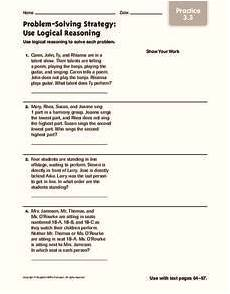 problem solving strategy use logical reasoning worksheet for 4th 5th grade lesson planet