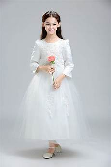white lace children wedding dress for teenage long sleeve girls clothing sequin ankle length