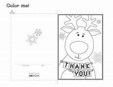 card template for colouring thank you coloring cards reindeer thank you card