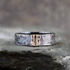 men s wedding band black sterling silver 14k rose and