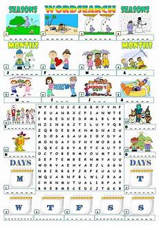 months and seasons activities worksheets 14767 seasons months days wordsearch seasons worksheets classroom teaching