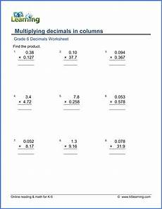 multiplying decimals worksheets with answers 7338 grade 6 math worksheet decimals multiplying decimals in columns k5 learning