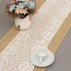 30 180cm Luxury Burlap Lace Table Runner Wedding