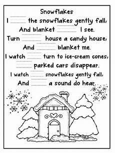 winter cloze activities worksheets 19955 snowflake poem cloze activity with word cards poetry for