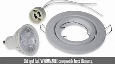 kit spot led encastrable kit spot led encastrable 7w dimmable blanc froid douille gu10 support blanc orientable