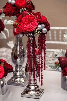 red and silver wedding reception centerpieces flowers