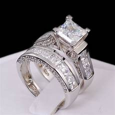 sterling silver 14k white gold princess diamond cut