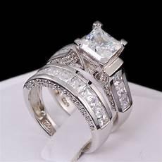 sterling silver 14k white gold princess diamond cut engagement wedding ring ebay