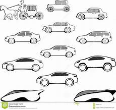 evolution of cars time jahrhundert auto entwicklung lizenzfreies stockfoto bild