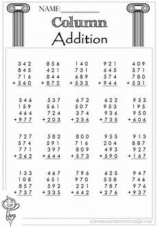 addition worksheets 3 digit and 4 digit 9148 three digit column addition 4 addends worksheets column addition math supplements
